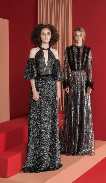 RAMI KADI-FW18-1 Black And Silver Aluminium Foiled Pleated Skirt And A Cut Out Bodice & FW18-2Black See Through Gown Fully Embelished With Aluminium Foil