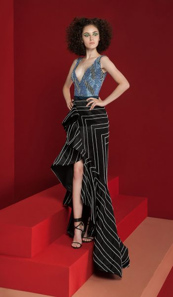 RAMI KADI-FW18-12 Geometrically Colored Deep V Bodice And A Flamenco Skirt Embroidered With Cut Metal Threads And Glass Beads