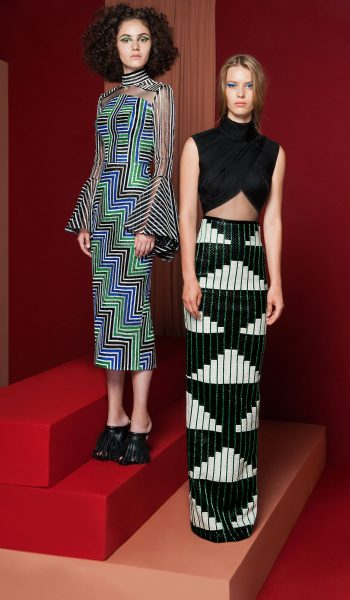 RAMI KADI-FW18-3 Geometrically Colored Point de Croix Fully Embroidered Pencil Dress With Bell Sleeves & FW18-4 Black Draped Bodice Complimented With A Fully Geometrical Leather Pencil Skirt