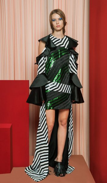RAMI KADI-FW18-6 Black And Green Asymetrical Dress With Cut Out Long Ruffled Sleeves Embroidered With 3D Sequins