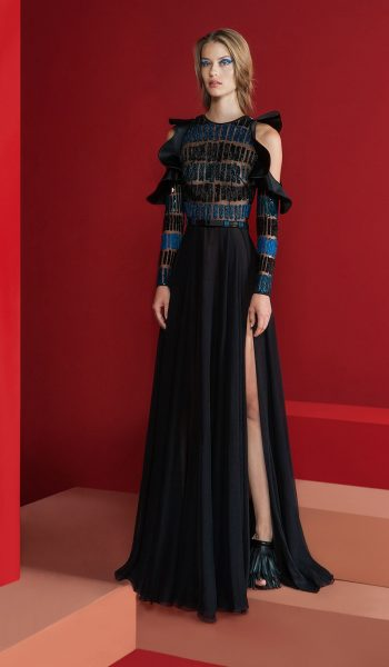 RAMI KADI-FW18-7 Black Cut Out Ruffled Shoulders Dress Embellished With 3D Matte And Shiny Sequins
