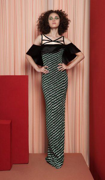 RAMI KADI-FW18-9 Black And Green Pencil Dress With Ruffled Off Shoulder Neckline.JPG